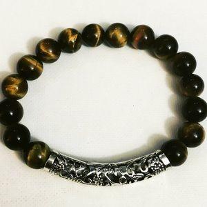 Unisex Stretch Tiger Beads Bracelet Silver Design